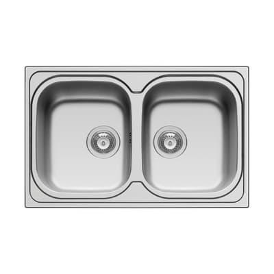 Lavello da incasso Amaltia 79 x 50 cm 2 vasche