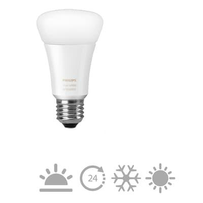 Lampadina LED E27, Goccia,  diffusore Opaco, col.luce Bianco, Luce calda, 9.5W=806LM (equiv 9,5 W), 160° , PHILIPS HUE