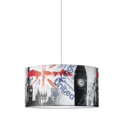 Lampadario London Underground bianco, nero, rosso, blu, grigio, in tessuto, diam. 40 cm, E27 MAX60W IP20