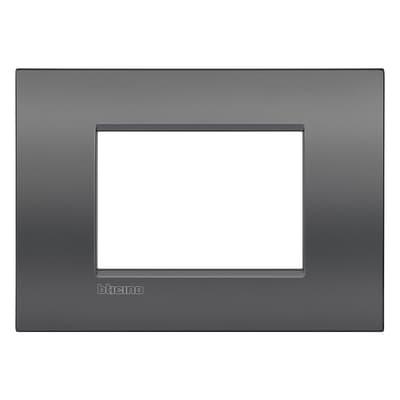 Placca BTICINO Living light 3 moduli grigio metallizzato