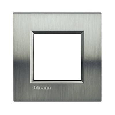 Placca BTICINO Living light 2 moduli acciao spazzolato opaco