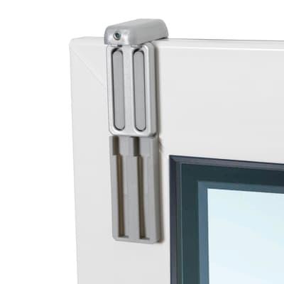 Supporto senza fori U18 grigio in alluminio, 2 pezzi