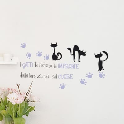 Sticker Sticker Words Up S Impronte gatto 15x31 cm