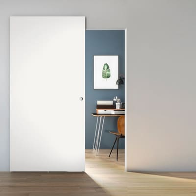 Porta scorrevole con binario esterno Space Lac Tda in legno laccato Binario nascosto L 101 x H 230 cm dx