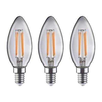 Lampadina Filamento LED E14 candela bianco caldo 4.5W = 470LM (equiv 40W) 360° LEXMAN, 3 pezzi