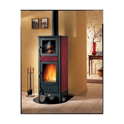 Stufa a legna con forno Sara 8 kW bordeaux