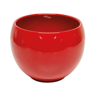 Portavaso Luna in ceramica colore rosso H 15.4 cm, Ø 20 cm