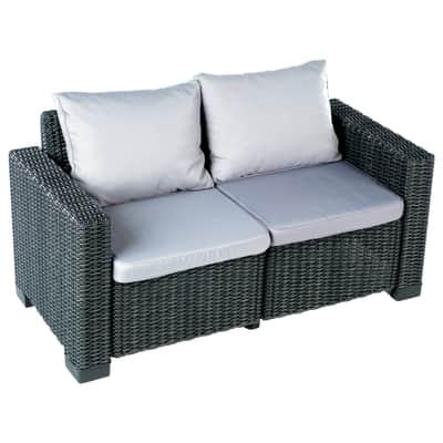 Divano con cuscino 2 posti in resina California colore grigio antracite