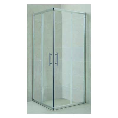 Box doccia rettangolare scorrevole 80 x 100 cm, H 185 cm in vetro temprato, spessore 5 mm trasparente cromato