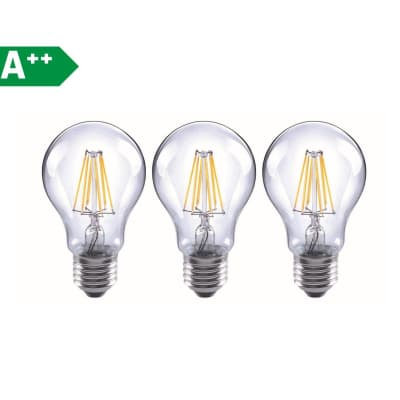 Lampadina LED filamento E27 standard bianco caldo 6.5W = 806LM (equiv 60W) 360° LEXMAN, 3 pezzi