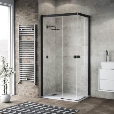 Box doccia scorrevole 70 x 90 cm, H 200 cm in vetro, spessore 6 mm trasparente nero