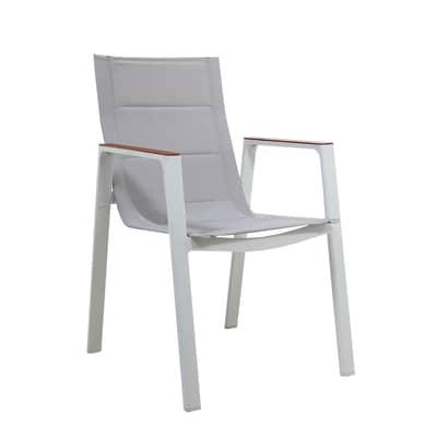 Sedia da giardino senza cuscino in alluminio Venus colore bianco