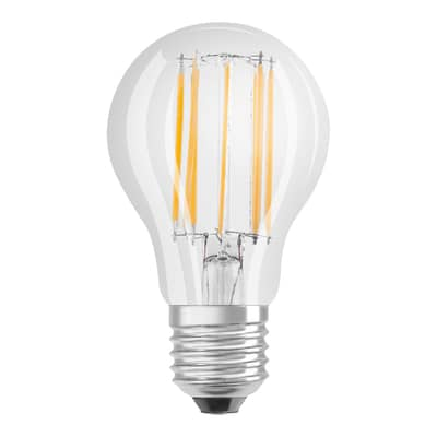 Lampadina LED filamento E27, Goccia, Trasparente, Bianco, Luce calda, 11W=1420LM (equiv 94 W), 320° , OSRAM