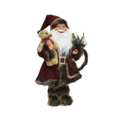 Babbo Natale da appendere bordeaux , L 20 cm x P 10 cm