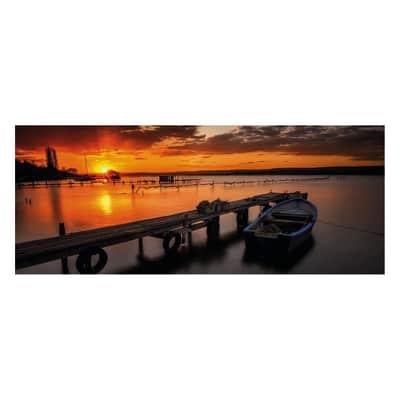 Quadro in vetro Boat Sunset 125x50 cm