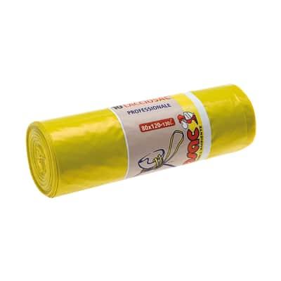 Sacchi spazzatura Lacciosac L 80 x H 120 cm 130 L giallo 10 pezzi