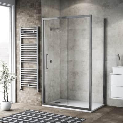 Box doccia scorrevole 135 x 80 cm, H 195 cm in vetro, spessore 6 mm trasparente argento