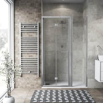 Box doccia pieghevole 140 x , H 195 cm in vetro, spessore 6 mm trasparente argento