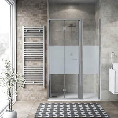 Box doccia pieghevole 140 x , H 195 cm in vetro, spessore 6 mm serigrafato argento