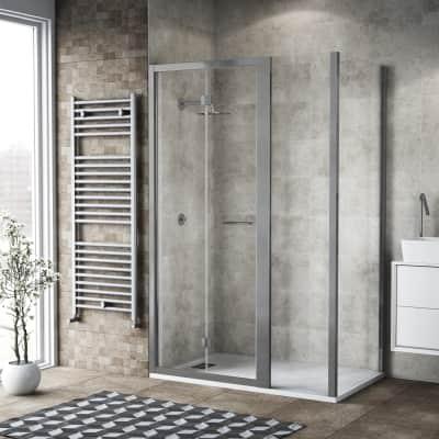 Box doccia pieghevole 110 x 80 cm, H 195 cm in vetro, spessore 6 mm trasparente argento
