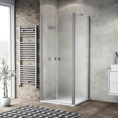 Porta doccia 80 x 80 cm, H 200 cm in vetro, spessore 6 mm spazzolato argento