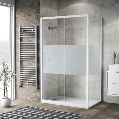 Box doccia scorrevole 155 x , H 195 cm in vetro, spessore 6 mm serigrafato bianco