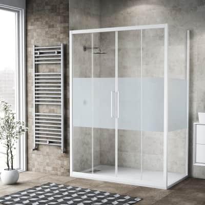 Box doccia scorrevole 75 x , H 195 cm in vetro, spessore 6 mm serigrafato bianco
