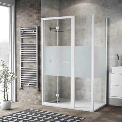 Box doccia pieghevole 130 x , H 195 cm in vetro, spessore 6 mm serigrafato bianco