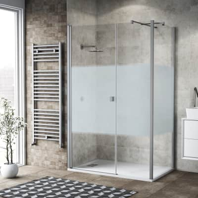 Box doccia battente 140 x 80 cm, H 200 cm in vetro, spessore 6 mm serigrafato bianco