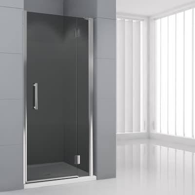 Porta doccia battente Modulo 150 cm, H 195 cm in vetro temprato, spessore 6  mm fumé cromato