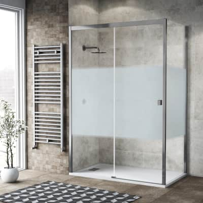 Box doccia scorrevole 150 x 80 cm, H 200 cm in vetro, spessore 6 mm serigrafato cromato