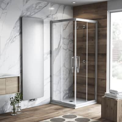 Box doccia quadrato scorrevole Namara 90 x 90 cm, H 195 cm in vetro temprato, spessore 8 mm trasparente argento