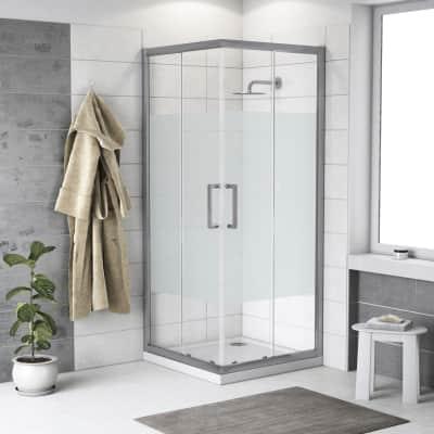 Box doccia scorrevole Quad 90 x 90 cm, H 190 cm in alluminio e vetro, spessore 6 mm serigrafato argento