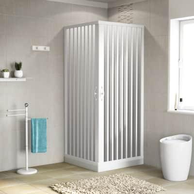 Box doccia quadrato Playa 80 x 90 cm, H 185 cm in pvc, spessore 2 mm vetro di sicurezza serigrafato bianco