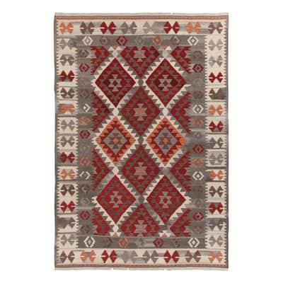 Tappeto Kilim Zagros in lana, tessuto a mano, grigio, 160x230