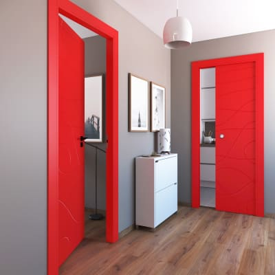 Porta a battente Wind Red rosso L 80 x H 210 cm destra