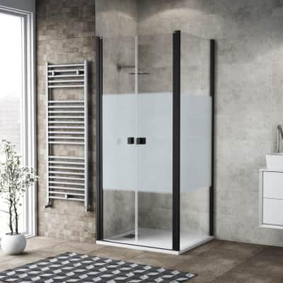 Porta doccia 80 x 80 cm, H 200 cm in vetro, spessore 6 mm serigrafato nero