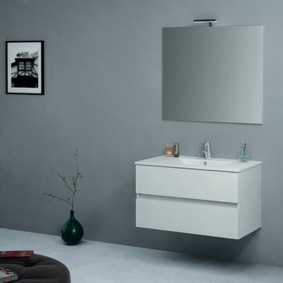 Set mobile da bagno con lavabo Kora bianco L 91 cm