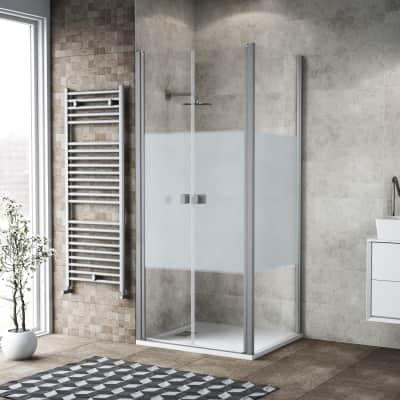 Porta doccia 120 x 80 cm, H 200 cm in vetro, spessore 6 mm serigrafato bianco