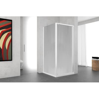 Porta doccia battente Oceania 80 cm, H 195 cm in vetro temprato, spessore 5 mm serigrafato e brinato bianco