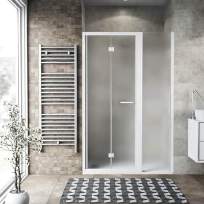 Box doccia pieghevole 110 x 70 cm, H 195 cm in vetro, spessore 6 mm spazzolato bianco