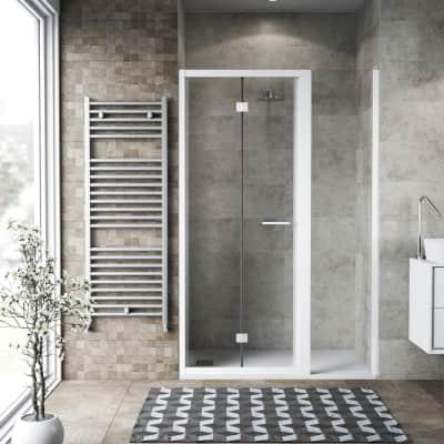 Box doccia pieghevole 90 x , H 195 cm in vetro, spessore 6 mm trasparente bianco