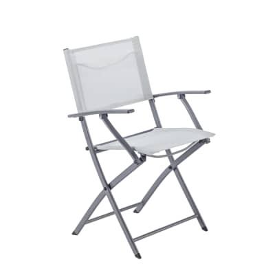 Sedia con braccioli senza cuscino pieghevole in acciaio Emys NATERIAL colore grigio chiaro