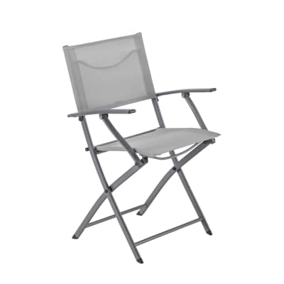 Sedia con braccioli senza cuscino pieghevole in acciaio Emys NATERIAL colore tortora