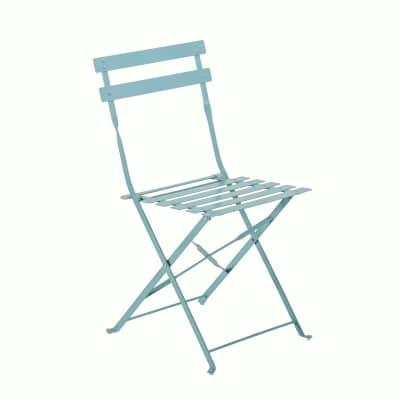Sedia da giardino senza cuscino pieghevole in acciaio Flora NATERIAL colore blu