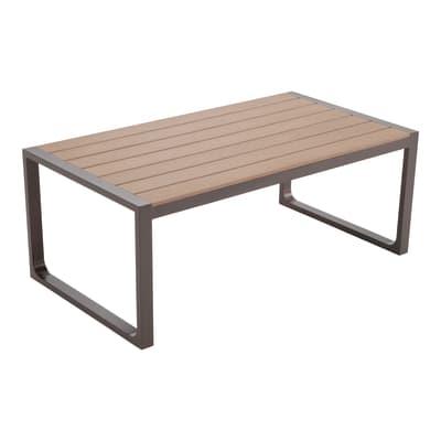 Tavolino da giardino rettangolare New York con piano in composito L 73 x P 132 cm