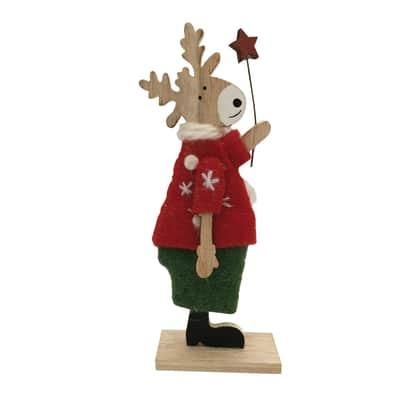 Renna in lana verde e rossa, e legno colore naturale , L 7.5 cm x P 4.5 cm