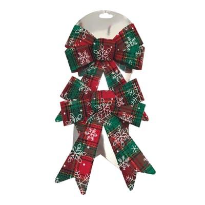 Decorazione per albero di natale Set 2 fiocchi in tessuto decorati in rosso e verde , L 13 cm