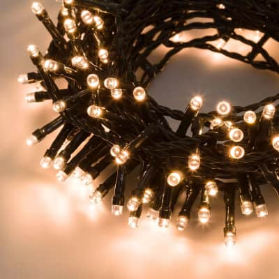 Catena luminosa 300 lampadine LED bianco caldo 200 cm