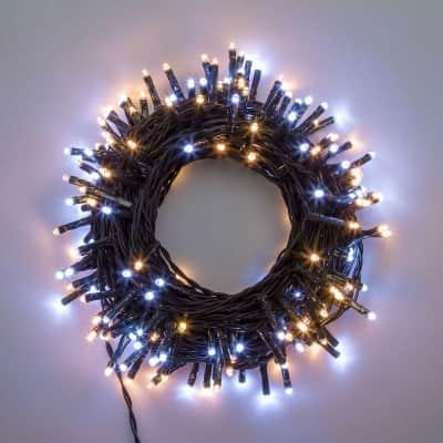 Catena luminosa 180 lampadine LED bianco caldo e bianco freddo 400 cm